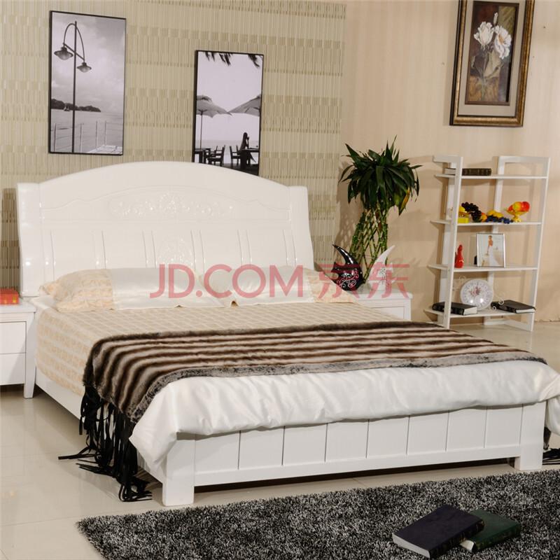 8米实原木床大床卧室婚床 白色 1800*2000