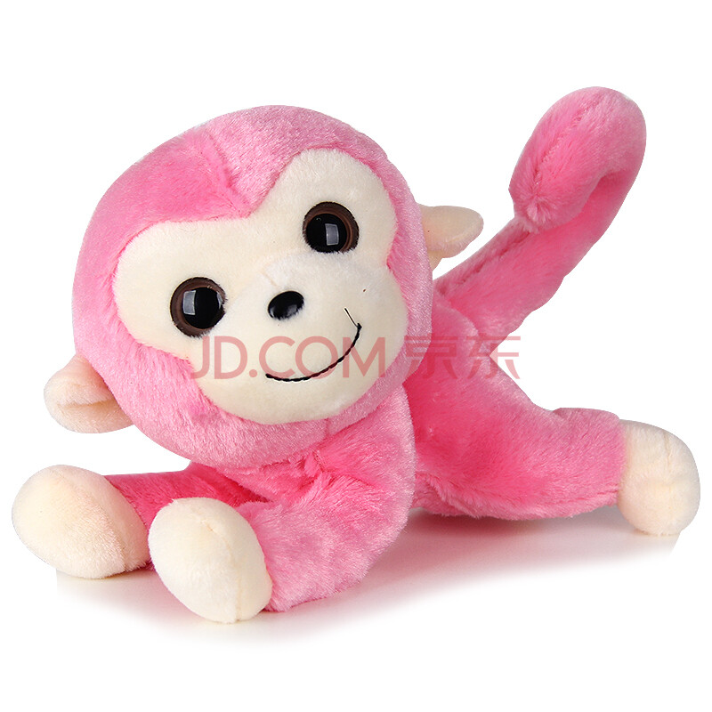 欢乐猴可爱大眼创意长尾猴毛绒玩具布娃娃生日礼物猴年吉祥物 粉红色