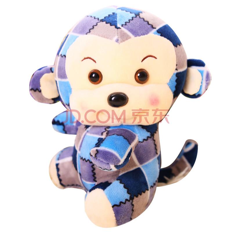 烟花格子猴子公仔猴年吉祥物毛绒玩具猴子年会礼品2016年跨年礼物新年