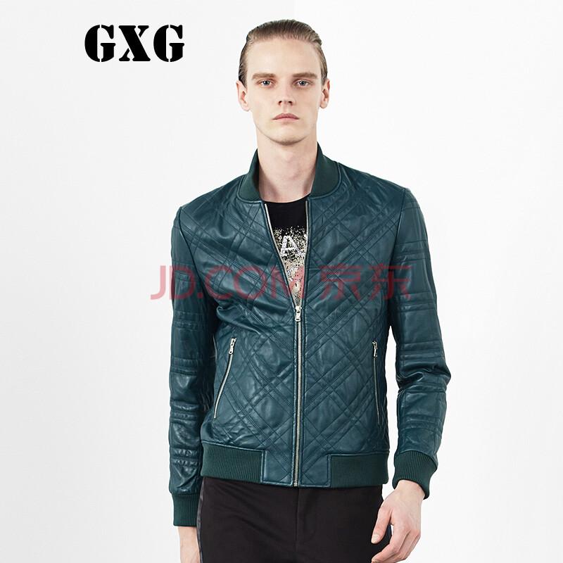 gxg男装2014秋装新款 男士时尚休闲百搭修身绿色皮衣潮#33112446 绿色