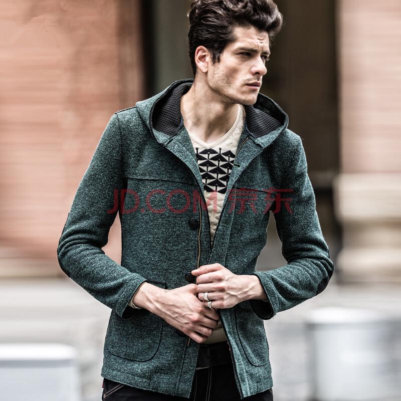 帕美蒂 时尚休闲连帽针织外套 男生风衣外套 个性拼色