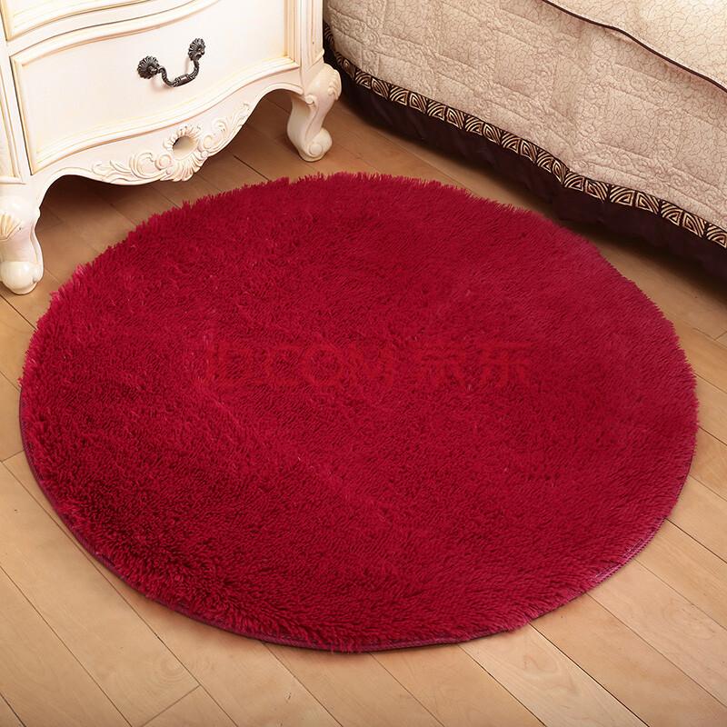 爱尚家 超柔丝毛客厅卧室茶几地毯地垫 防滑防尘吸水浴垫 圆形酒红色