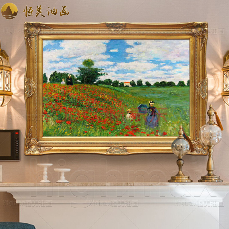 恒美 手绘油画欧式田园别墅客厅卧室餐厅玄关酒店会所