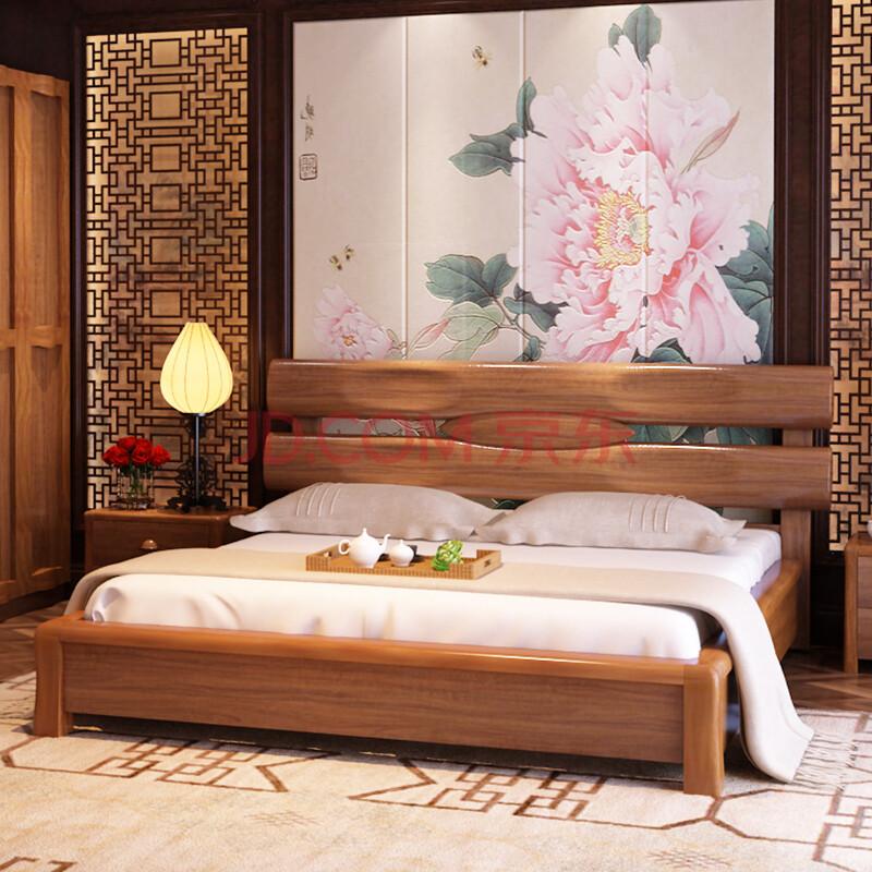 乐和居 实木床 现代中式 实木床头 双人床 简约床 卧室家具 1.