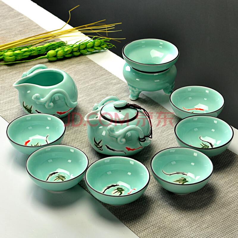 辉跃礼品茶具 手工手绘青瓷功夫茶具套装 盖碗 茶杯 陶瓷茶壶茶碗 款