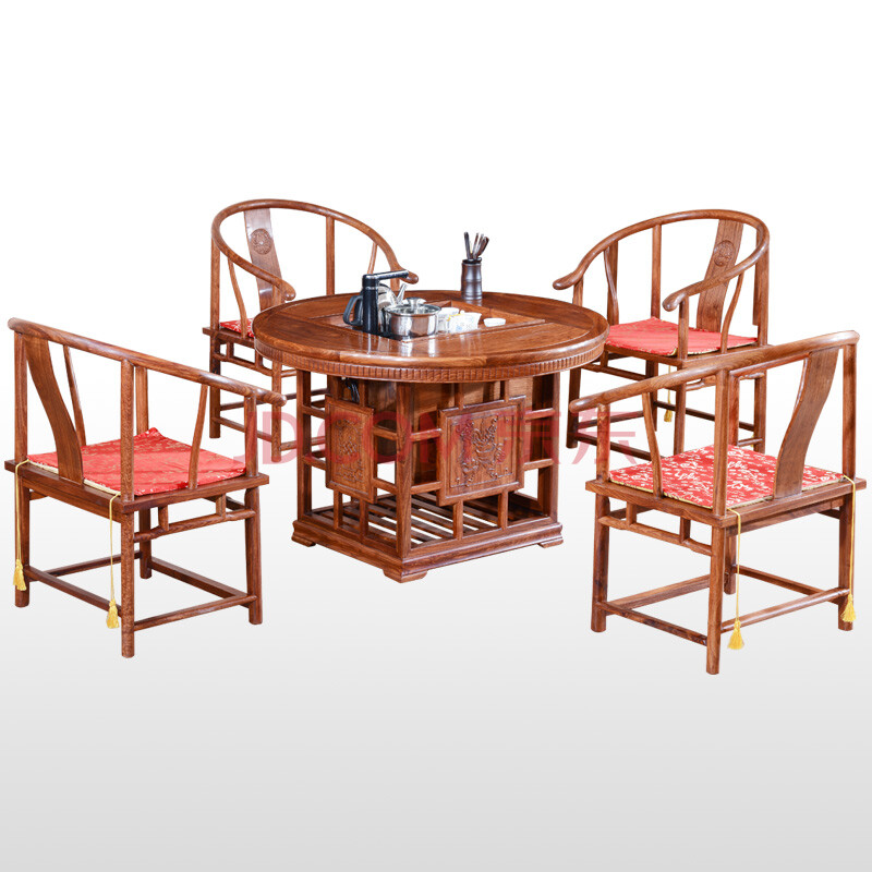 新中式家具红木茶几功夫茶桌实木仿古 花梨木茶桌椅组合 圆形茶台