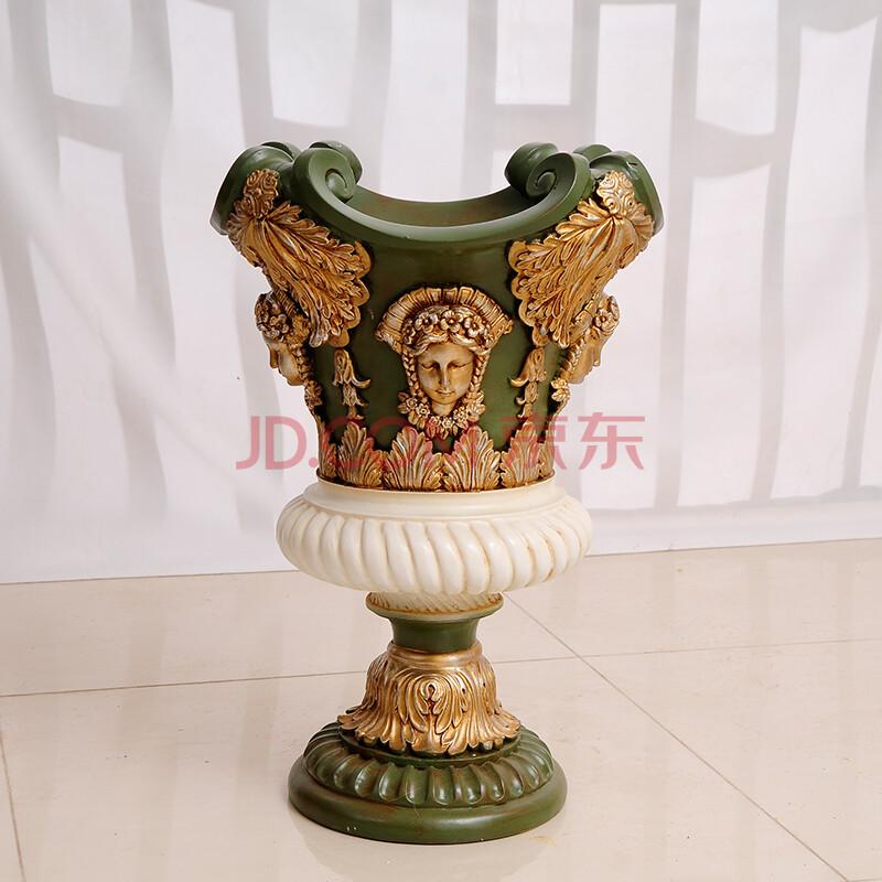 西尚玫瑰 欧式客厅大花瓶摆件落地树脂奢华复古罗马柱