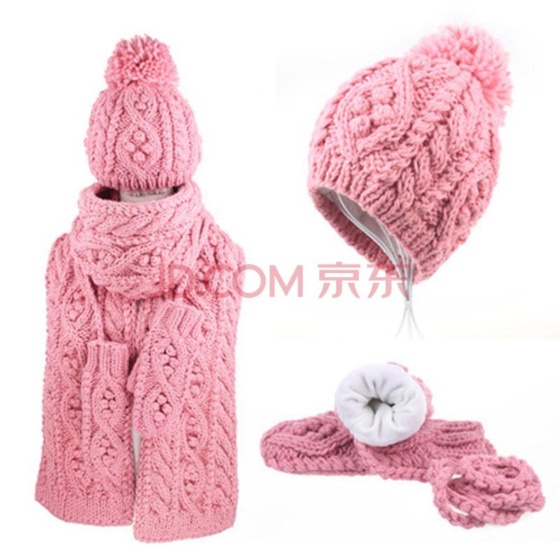冬天女生保暖可爱毛线帽子围巾手套三件套装 粉色 均码
