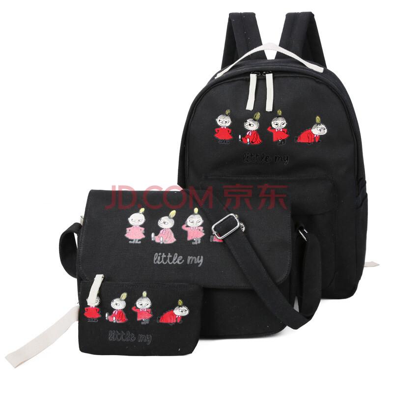 瑞芝美 2016新款双肩包时尚学生背包 韩版印花书包三件套帆布双肩包图片