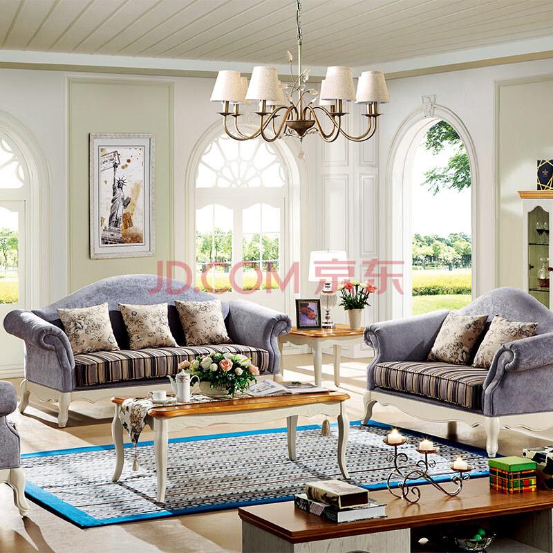 鹏景雅居 美式沙发 实木布艺沙发组合 客厅家具as5 宝石蓝 单人位