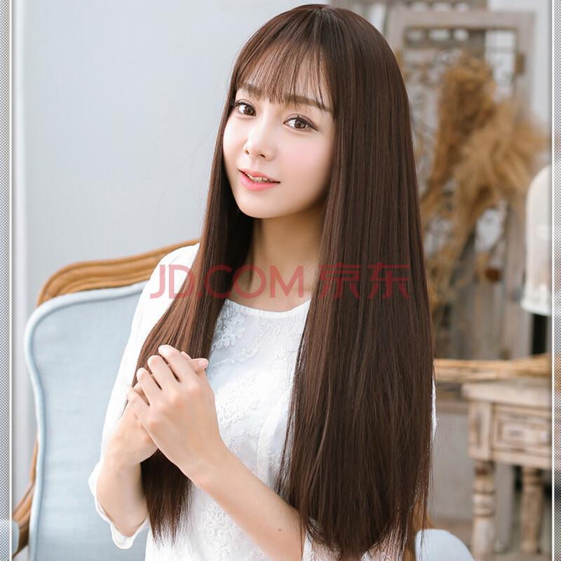 假发 稀薄空气刘海 女长直发蓬松长发时尚甜美可爱修脸假发套 棕黑色