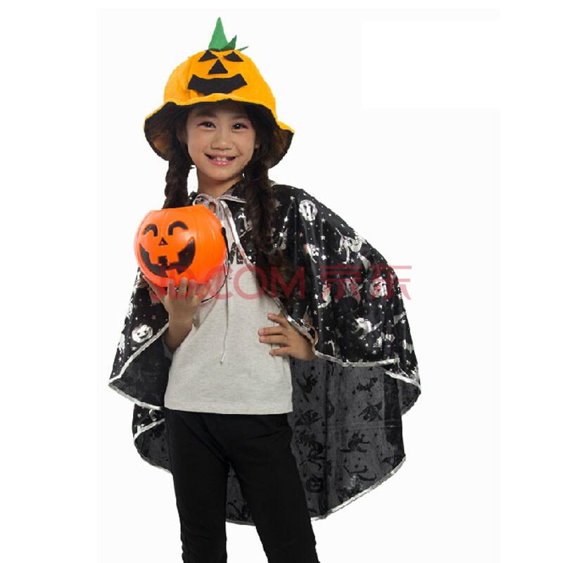诺雅尚品 万圣节新款儿童披风时尚男女童斗篷巫婆尖帽