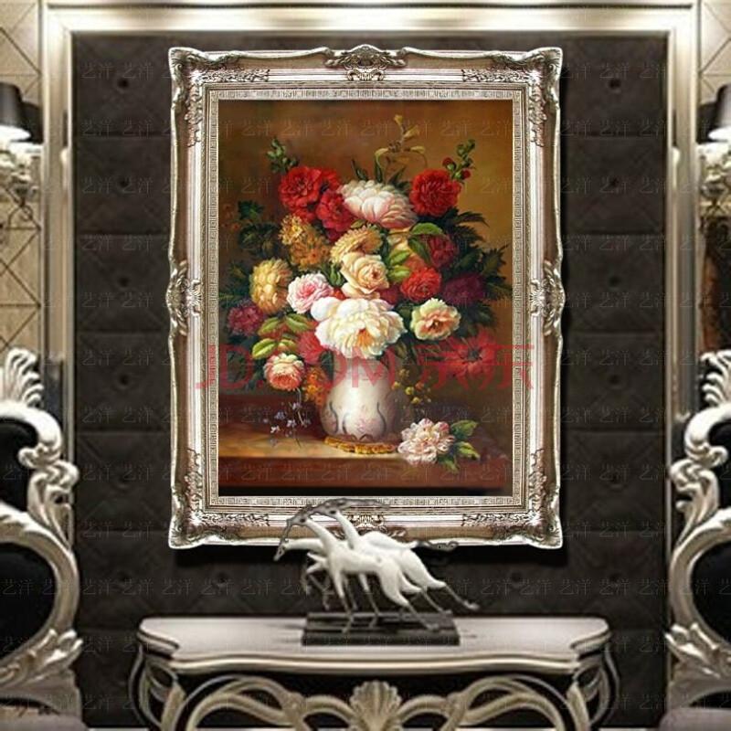 纯手绘牡丹花开富贵花卉油画欧式风景客厅壁炉玄关沙发有框装饰画 103