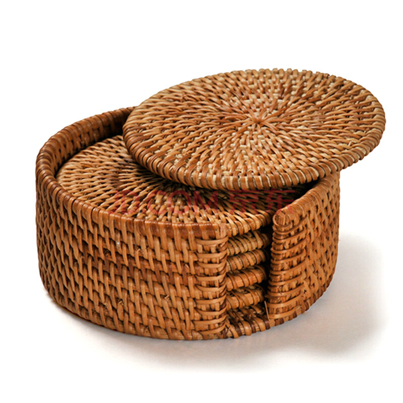 越南藤编茶杯垫 茶垫子 隔热垫 紫砂壶垫 茶垫子6个套装10cm