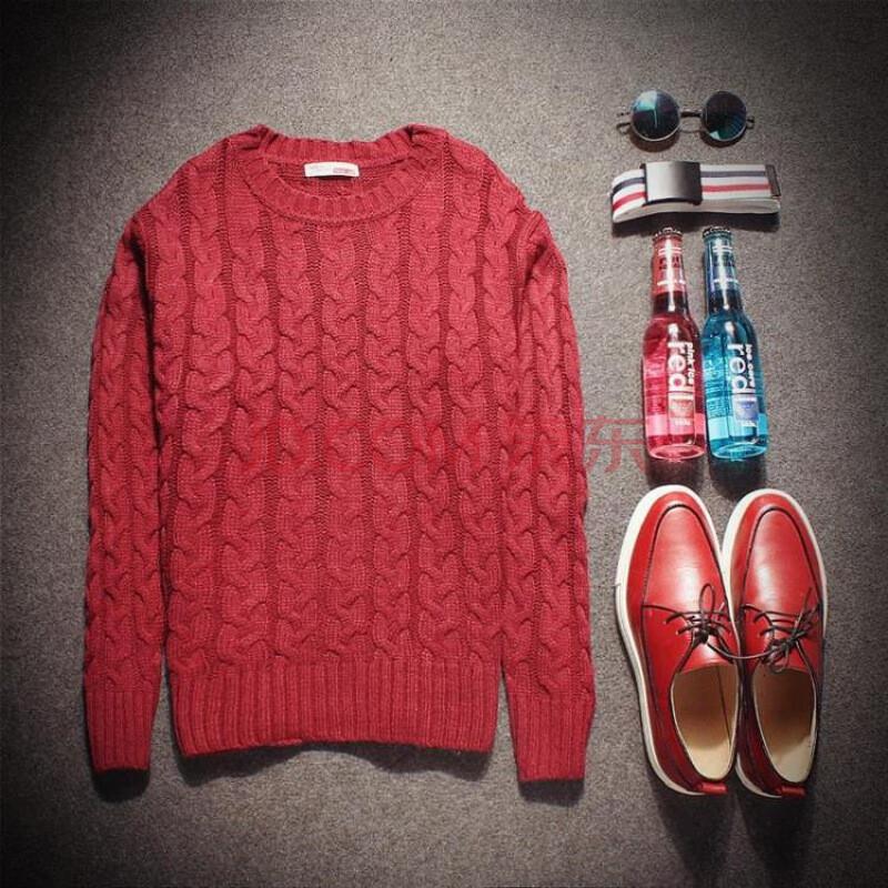 编织男士修身圆领毛衣