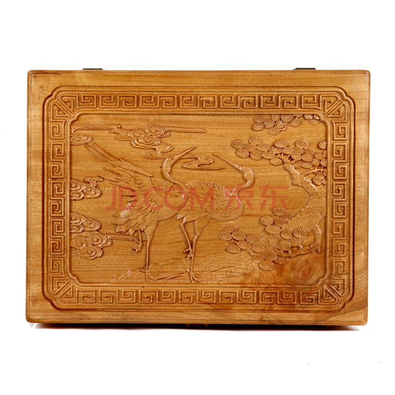 樟木盒香樟木箱红木收纳盒大容量 百宝箱木质盒子老樟木礼品箱 松鹤延