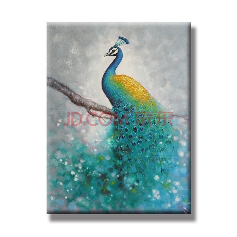 孔雀装饰画油画手绘