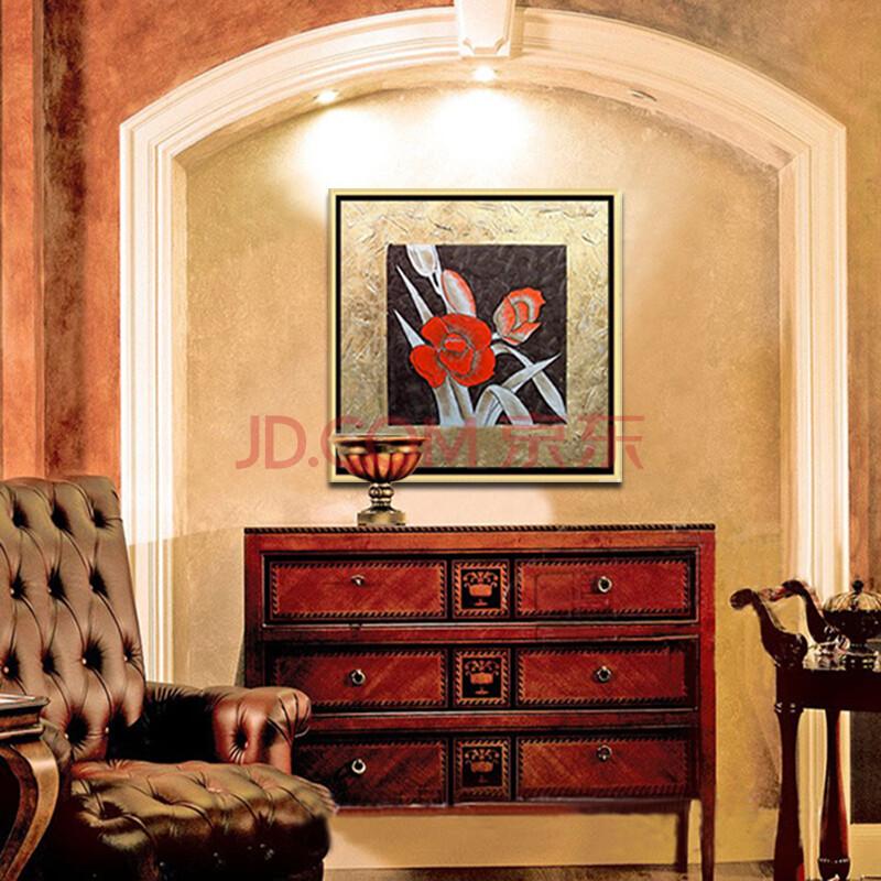 莫涵品牌手绘金银箔油画花简约中式古典别墅客厅玄关书房装饰画 中间