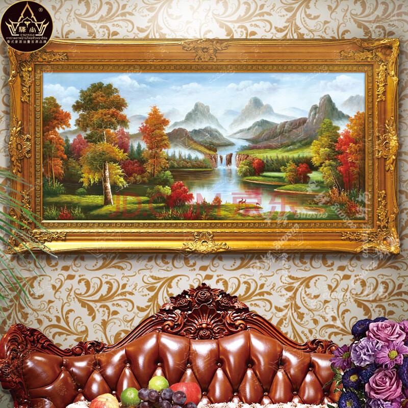 驿尚欧式纯手绘油画 风景山水画 客厅装饰画 沙发背景