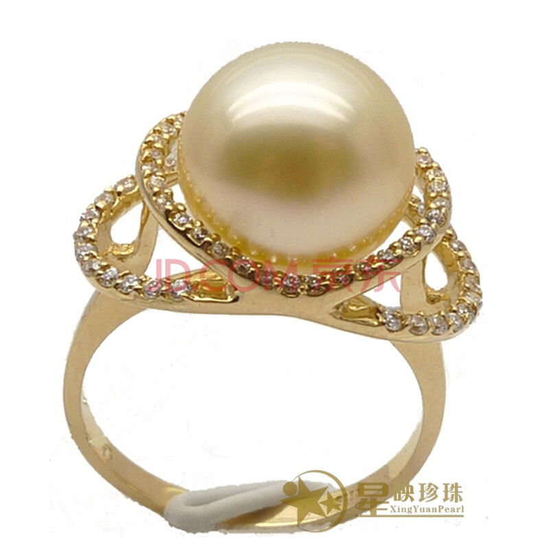18k金强光天然珍珠南洋珍珠南洋金珠戒指时尚手饰品 18k黄金 10-11mm
