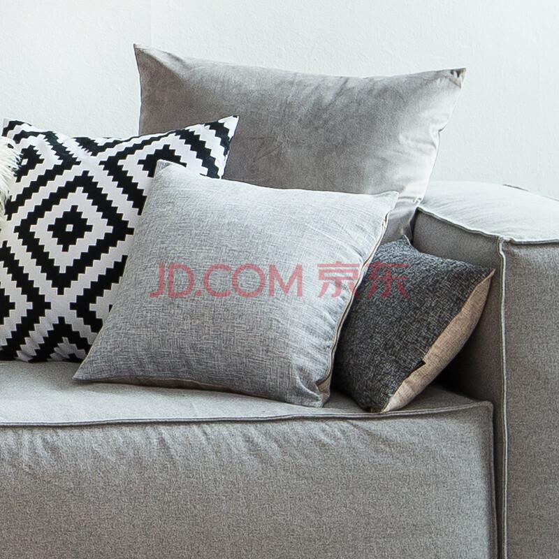 咪咖 抱枕靠垫 美式纯色纯棉麻亚麻沙发抱枕办公室大靠垫床头靠枕靠背图片