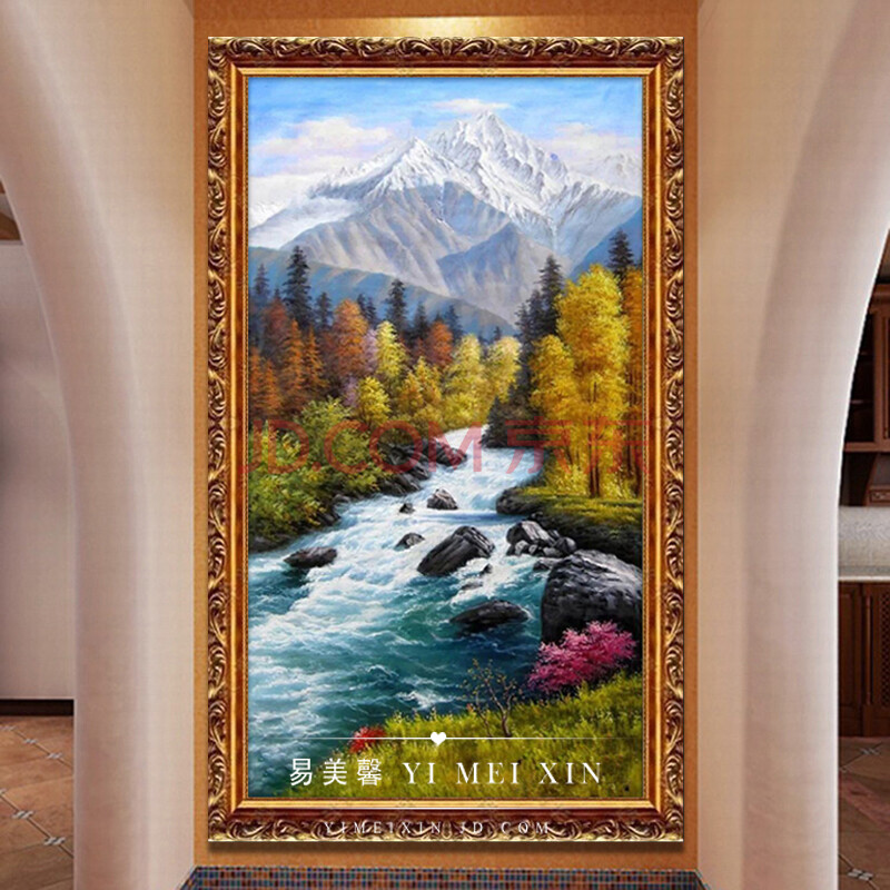 易美馨简欧式油画手绘古典山水风景油画欧式客厅书房