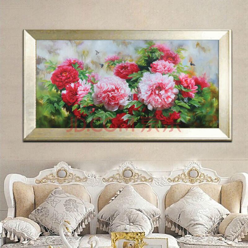 花卉植物油画 纯手绘简约牡丹花装饰画图片