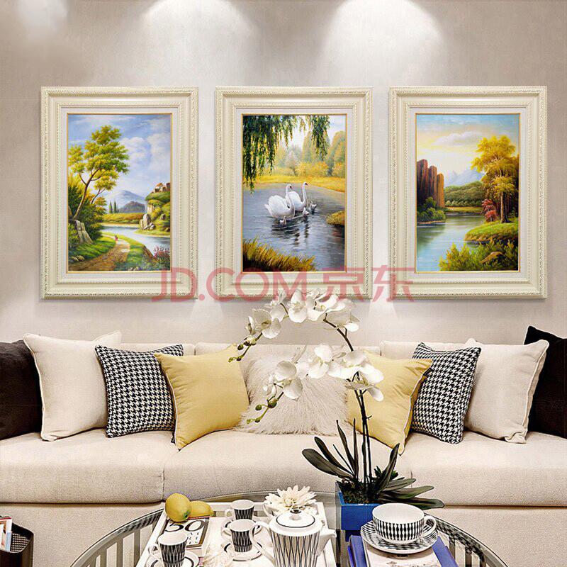 欧式客厅三联画简欧风景玄关过道壁画简欧墙纸沙发背景挂画饭桌画图片