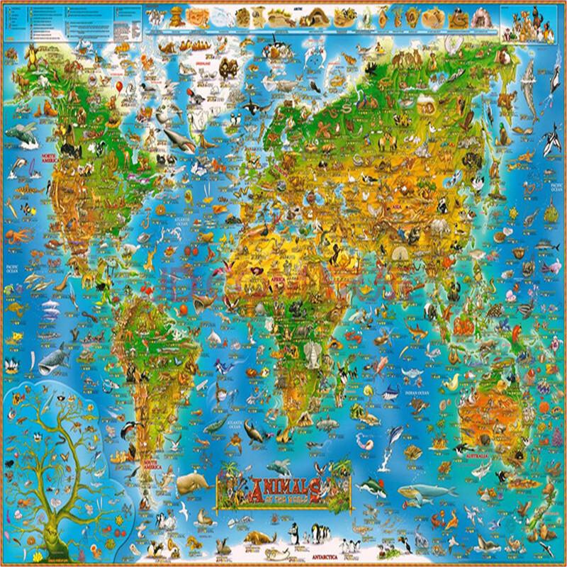 趣味卡通版地图500/1000/1500片木质拼图成人儿童玩具