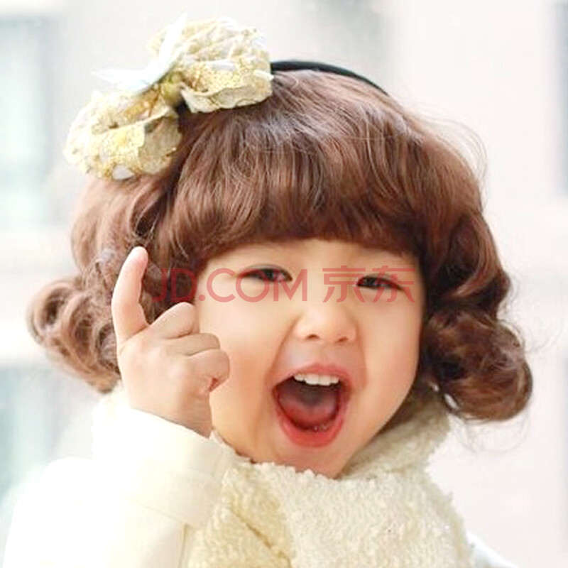 韩版宝宝假发婴儿童假发套齐刘海短卷发摄影假发套女童假发 5-10岁图片
