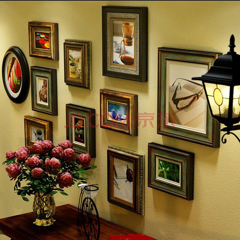 高档大气洛可可风格欧式实木照片墙相框墙复古怀旧客厅相片墙创意挂墙图片