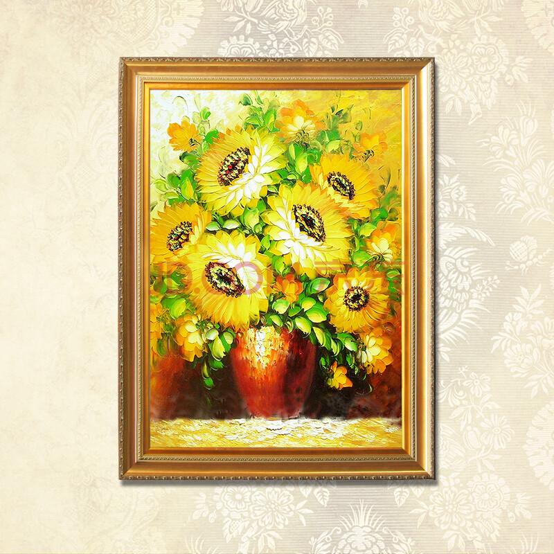 普瑞德斯顶级纯手绘油画高档装饰画古典花卉照片墙挂画向日葵太阳花