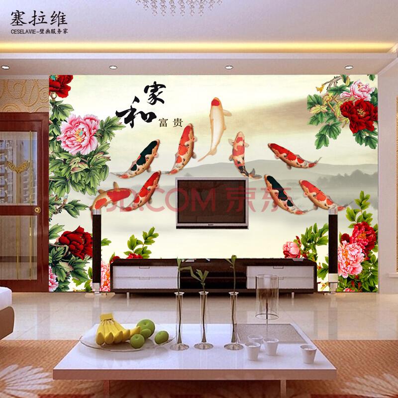 中式环保无纺布无缝大型壁画