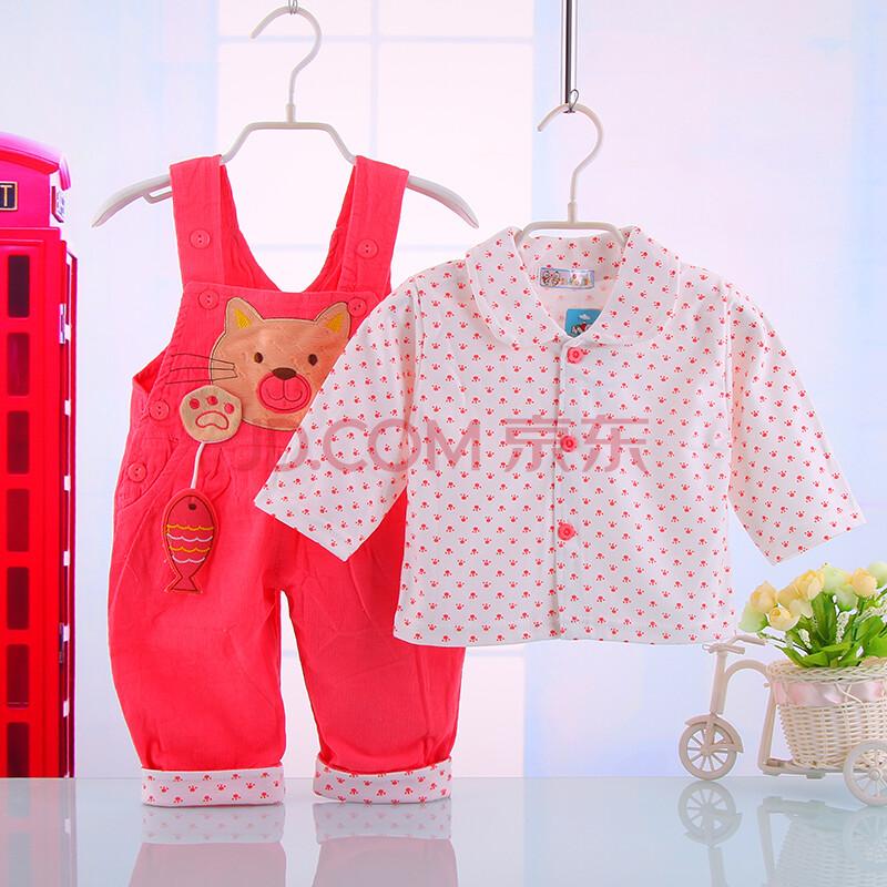 新款婴幼儿宝宝背带裤套装 儿童春秋款保暖外出服长袖背带裤套装 红色
