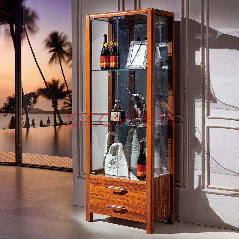巴博丽 后海 中式简约实木酒柜 浅胡桃色 实木两门酒柜 二门酒柜 204图片