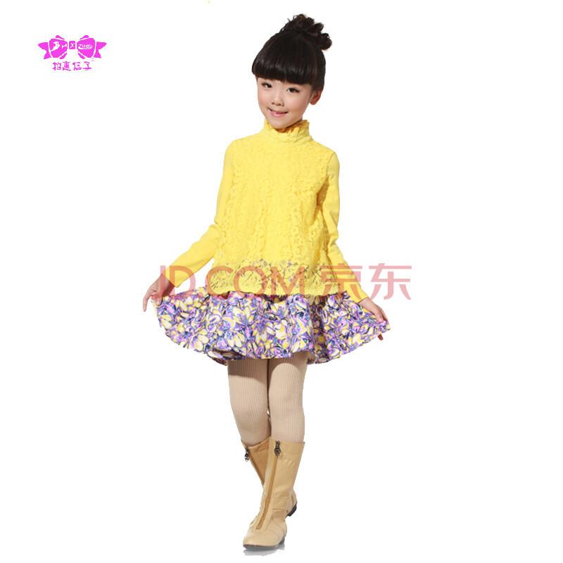 柏惠信子 女童秋款清新蕾丝长袖外套花纹连衣裙 bdf-2116 黄色 150cm