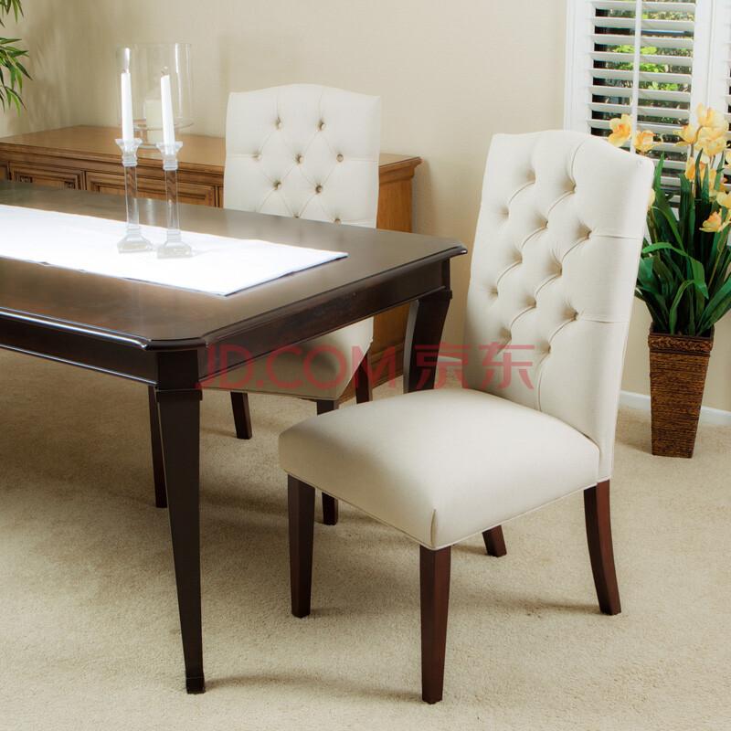 百伽 美式复古布艺餐椅 时尚拉扣靠背椅子 高档实木软包酒店椅图片