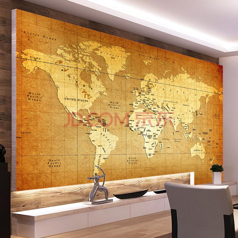 尤蔓中式复古地图墙面砖客厅餐厅沙发电视书房酒店大堂影视墙背景墙瓷图片