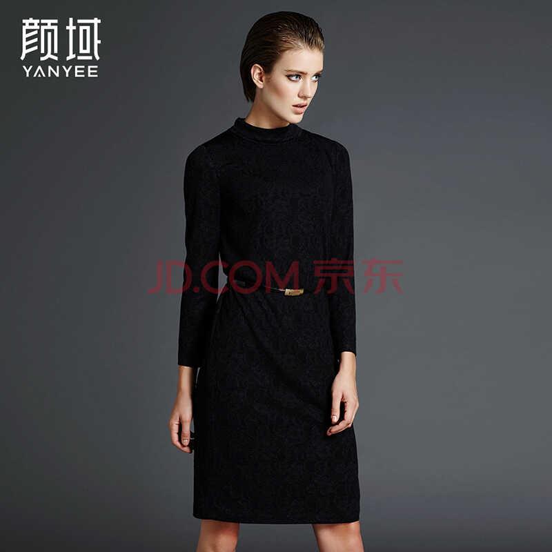 颜域品牌女装2016春装新款欧美极简优雅弹力亮丝长袖蕾丝连衣裙 20W5604 黑色 XL/42