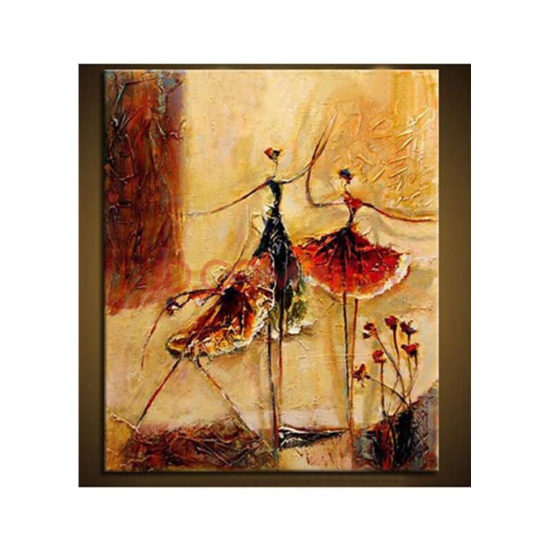 手绘欧式家居客厅装饰画卧室挂画沙发背景抽象油画无框画芭蕾舞者 d款