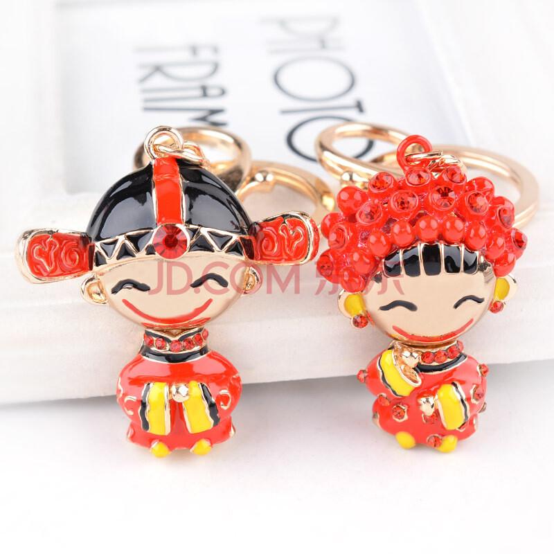 巨头中国风新郎新娘情侣男女款汽车钥匙扣包包挂件家居装饰品摆件创意