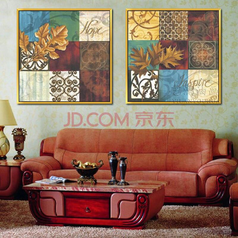 艺澜复古两拼装饰画纯手绘油画 创意家居饰品高档客厅