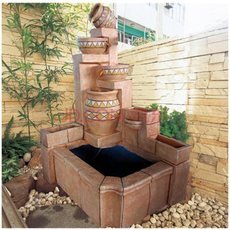 大型欧式家居装饰品招财流水喷泉庭院客厅落地摆件鱼池树脂工艺品 808