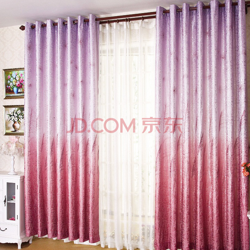中式银丝提花遮光窗帘布窗帘成品