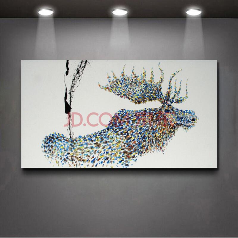 北欧风格现代装饰画麋鹿客厅沙发挂画手绘动物无框画