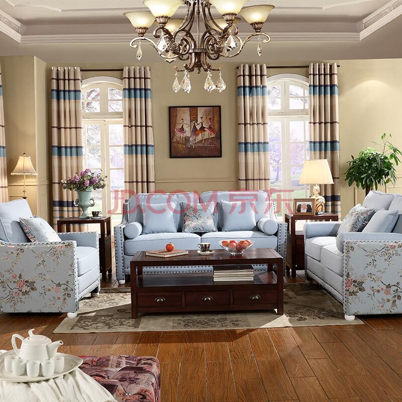 客厅家具 沙发 和谐佳缘 美式乡村田园风格新古典休闲组合沙发 布艺沙图片