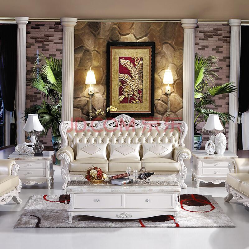 图爵家具 客厅欧式真皮沙发 进口头层牛皮美式法式 新古典组合u型实木图片