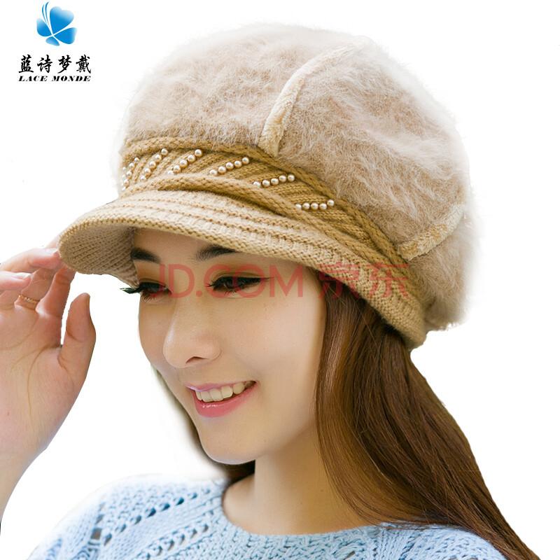 冬天帽子女加厚保暖帽 冬季帽子女韩版潮可爱针织帽秋冬帽子女式 土