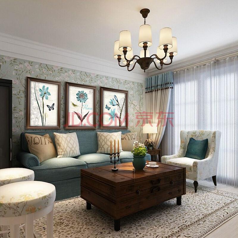 美式简约清新田园蓝色花卉蝴蝶装饰画 欧式现代卧室餐厅客厅沙发背景图片