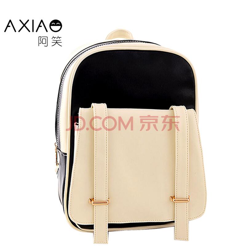 阿笑 撞色中小学生书包 女士包包 背包双肩包 女韩版潮流学院风休闲旅图片
